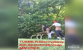 Black teen hooking up in public park hidden cam