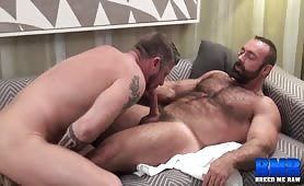 Hairy Bear Brad Kalvo Cums In Christian Matthews' Mouth