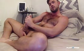 hairy Mike De Marko Jerking Off cock in Bed