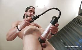 Using Penis Pump And Getting Gentle Handjob