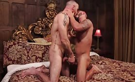 Two Horny Hunks Sucking And Fucking Bareback On Royal Bed