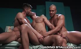 Three Ripped Hairy Hunks In Hardcore Anal Sandwich