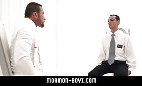 Hung boy tied to chair gets handjob from muscle daddy MORMON-BOYZ COM
