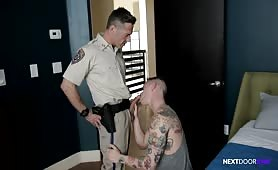 Inked Hunk Punished RAW By Police Officer