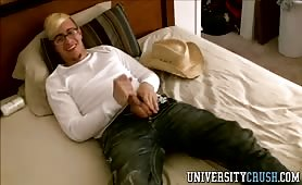 Blonde Cowboy Plays With Big Pecker And Cums