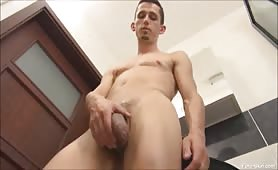 Hot College Boy Jerks Off His Big Uncut Cock