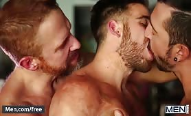 Bearded Ripped Daddies In Hot Threesome With Facials
