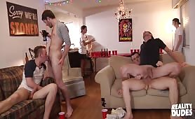 Massive Gay Sucking And Fucking Orgy In Dorm Room