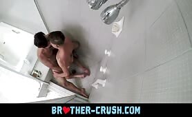 Hairy neighbor fucks a smooth twink in his shower BROTHER-CRUSH.COM