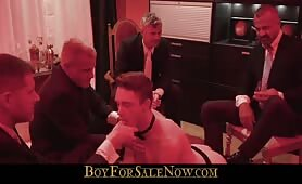 Jockstrap slave boy passed around to be fucked by rich master daddy's BOYFORSALENOW.COM