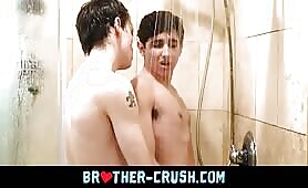 Shower anal leads to cum facial for hot smooth twink siblings BROTHER-CRUSH.COM
