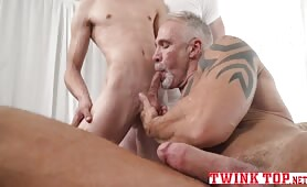 One twink two daddies bareback threesome anal train TWINKTOP.NET