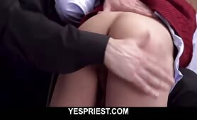 Mean perverted priest spanks his church boys ass before rough fucking him YESPRIEST.COM