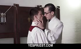 Tiny innocent church boy gets his ass creampied by horny priest close up YESPRIEST.COM