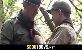 Innocent scout boy is being fucked by perverted superior against a tree SCOUTBOYS.NET