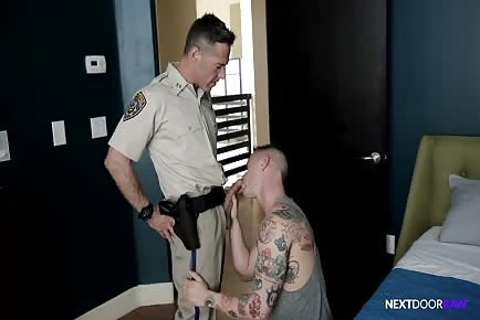 Cop daddy busts a nut into hot jock
