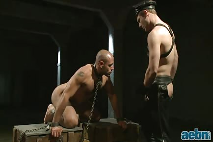 Spanked chained slave HD