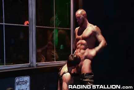 Muscular dad fucks jock on bar pool tablr