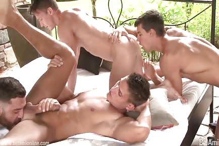 Amazing hunks group fucking together