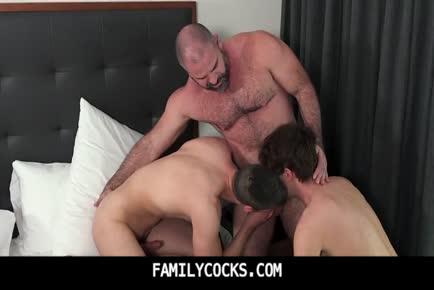 Brothers enjoy some quality family time with bear daddy-FAMILYCOCKS.COM