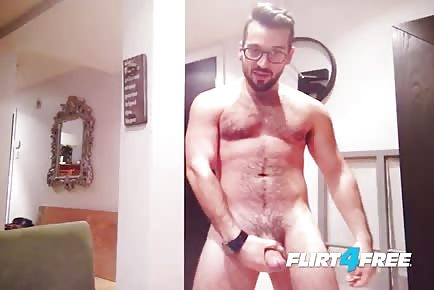 Hairy Stud Mounts His Dildo And Rides Till Cumshot