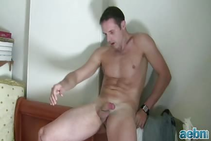 Sporty male pre-cum masturbation