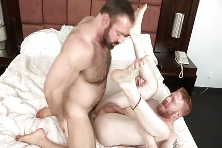 Hairy muscle bear Brad Kalvo pounds ginger lover Devan Bryant's tight butt bare