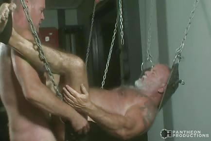 Hairy dad banged