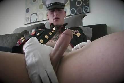 USA Marine jerks off in full uniform