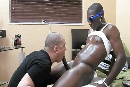 Straight black lover gets his bbc blowed off by gay stud