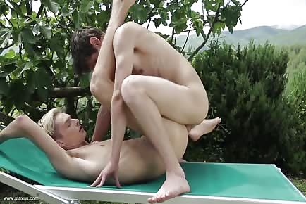 Teenage youngsters outdoor unprotected anal
