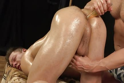 Relaxing dick and anus oil massage