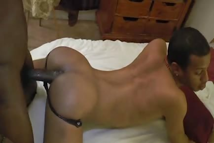 Freaky masked ebony guy slammed bareback by monster dick