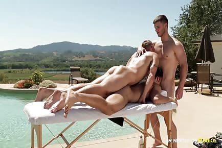 Poolside Massage Table Jock Threesome HD