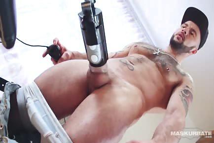 Manuel Deboxer stroking his dick with masturbator