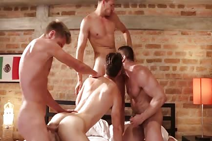 Double penetrating hot ass bareback in gangbang