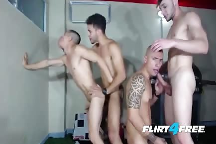 Recorded cam male orgy