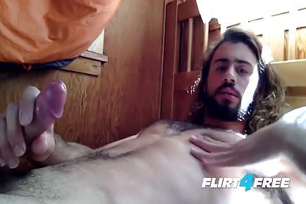 Long Hair man Sean Carraway beautiful sperm Explosion on His Abs