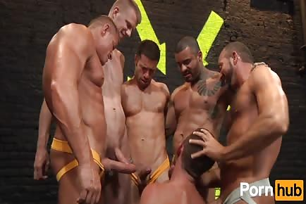 Parker Perry gets drilled by group horny crew of guys