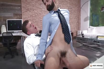 furry sexy male swallows and takes monstrous penis in ass at work