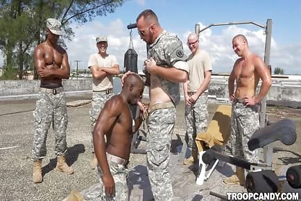 Military platoon taking gay orders from superior