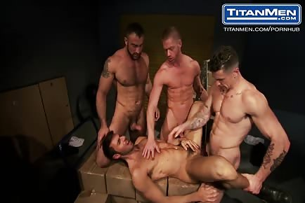 Ripped muscle guys sex party