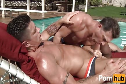Hunk gets plowed poolside by hot daddy Trenton Ducati