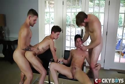 Hot guys living room foursome
