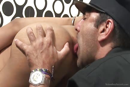 Policeman licks anus of small latino schoolboy