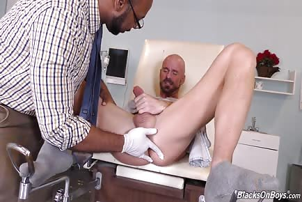 Pale skin white patient's ass fingered and rimmed by Dr. Black
