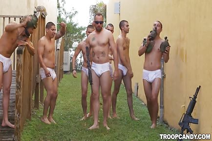 Army men in shower with their white panties
