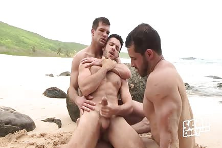 Three perfect studs beach bareback anal and cumshots